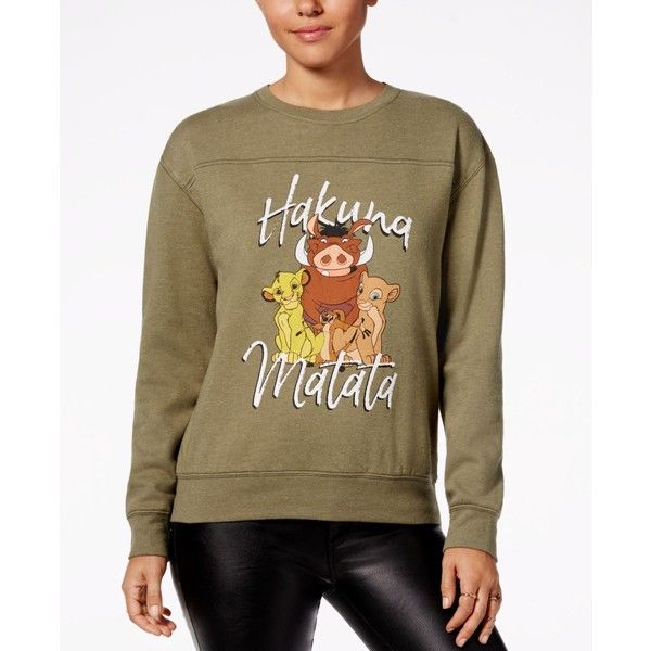 Freeze 24-7 Juniors' The Lion King Graphic Sweatshirt ($17) ❤ liked on Polyvore featuring tops, hoodies, sweatshirts, olive, brown long sleeve top, graphic sweatshirt, long sleeve sweatshirts, brown top and olive top