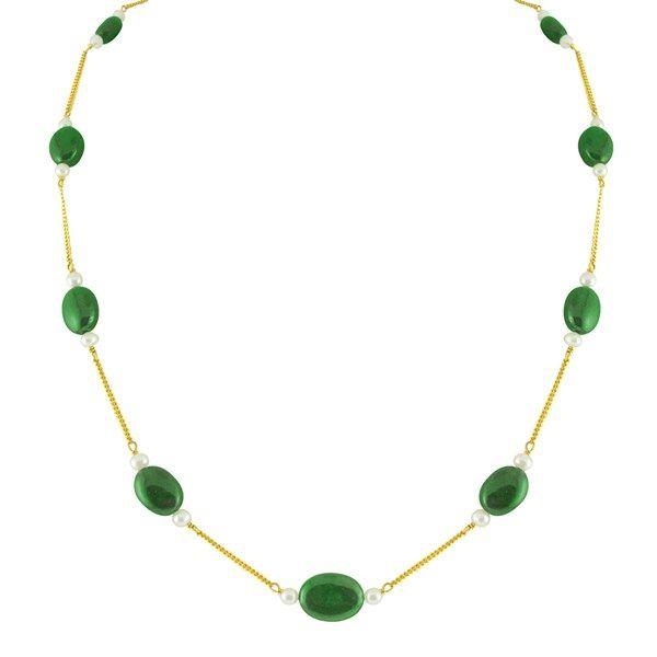 Jpearls Emeralds & Pearl Gold Chain