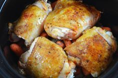 This is an easy crockpot dinner that tastes great! I don't usually cook with bone-in chicken thighs with skin but this recipe wouldn't taste the same without them. The crispy skin has so much fla...