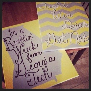 Georgia Tech Fight Song Paintings by LunaLoveCo on Etsy https://www.etsy.com/listing/215661174/georgia-tech-fight-song-paintings