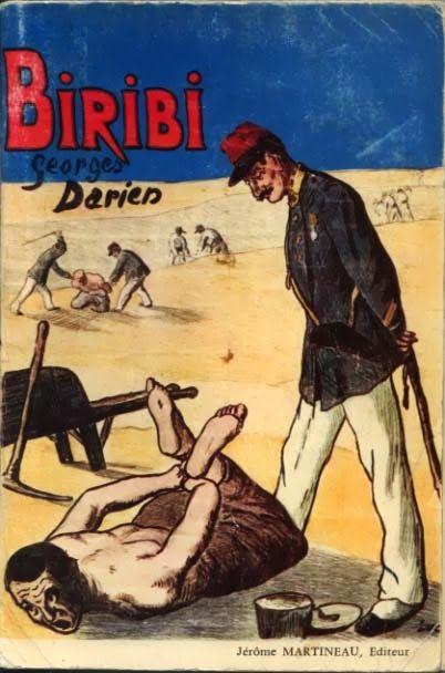 Sur cette couverture d'une édition du Biribi de Georges Darien, le disciplinaire est soumis au supplice de la crapaudine.