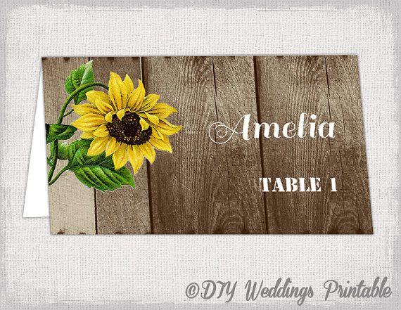 Rustic name card template Wood & Sunflower by diyweddingsprintable