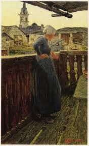 Segantini, Sul balcone, 1892.  Milan, Palazzo Reale.  There is a symbolic meaning behind when the rest of the home Segantini, Baba, leaning on the wooden railing, but a studied balance of components, on which rests the image. The canopy is a crucial element of composition that, with its diagonal decided, defines the depth of the image, accentuating the line of vision of Baba and the balcony.