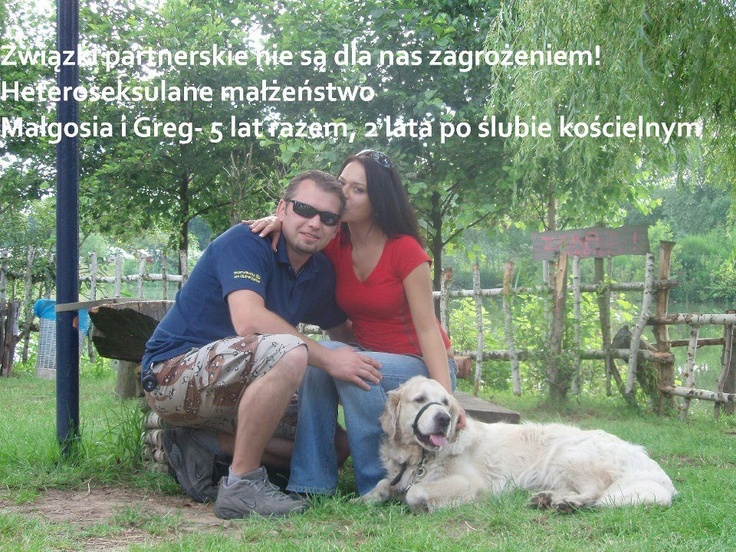 #Poland Civil partnerships are not a threat to us! Heterosexual marriage, Małgosia and Greg. We've been together for 5 years, 2 years ago we got married before the priest.