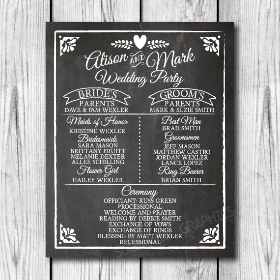 Chalkboard Wedding Program Sign, Printable Wedding Program Sign, Chalkboard Program Sign, Wedding Decor, Wedding Signage, Instant Download