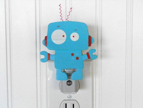18 best images about wooden night light on pinterest for Robot baby room decor