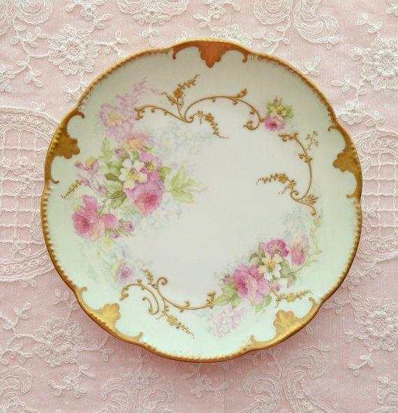 gorgeous antique ak cd limoges hand painted plate painted porcelain porcelain and france. Black Bedroom Furniture Sets. Home Design Ideas
