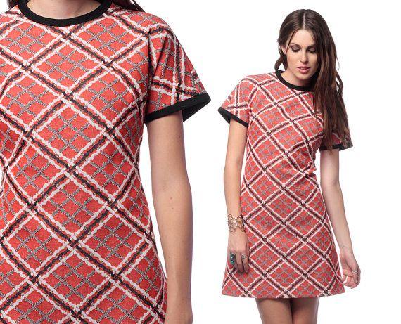 859c18fdd7d 60s Shift Dress Checkered Mod Mini Geometric Print 1960s A Line Twiggy  Orange Vintage Short Sleeve Polyester Plus Size Dress Extra Large XL