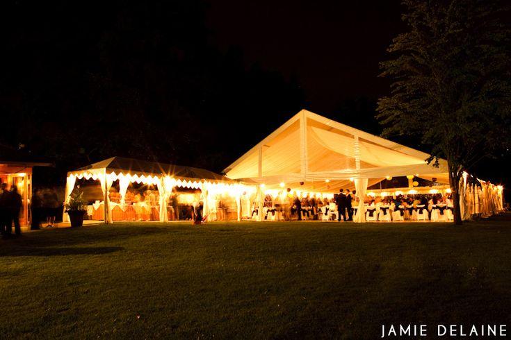 Hart House Restaurant - Reception tent at evening night, string lights