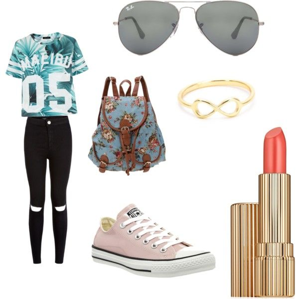 Untitled #5 by claramarin on Polyvore featuring polyvore, beauty, Estée Lauder, Ray-Ban and Converse