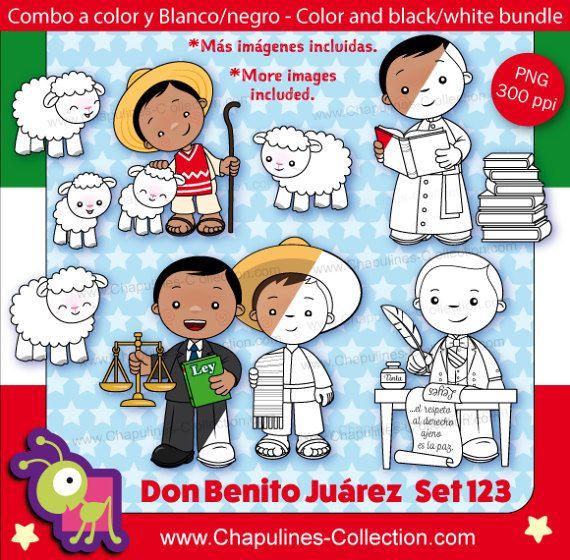 60% off Benito Juárez Clipart Bundle, color and black/white, Mexico, President, history of Mexico Set 123