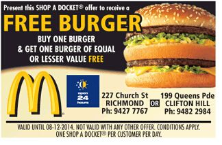 McDonald's, Hungry Jack's, KFC, Subway, Red Rooster, Oporto@Fast Food Vouchers , VICTORIA Anatolian Fire Bentleigh Buy 1 Meal Get 1 Half Price KFC Doncaster Dinner For 1 $6.95, Family Pleaser $17.95 McDonald's Avondale Heights BOGOF Big Mac     SOUTH AUSTRALIA KFC Seaford Rise Dinner For 1 $6.95, Family Pleaser $17.95 Angle Vale Chicken & Seafood Angle Vale Family Meal Deal $19.99 Subway Aldinga Footlong Upgrade, Free Drink With Footlong  QUEENSLAND Bark