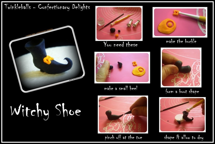 Witches' shoes for Halloween cakes