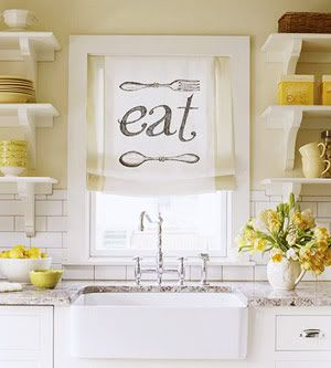 open shelving, subway tile and farm sink