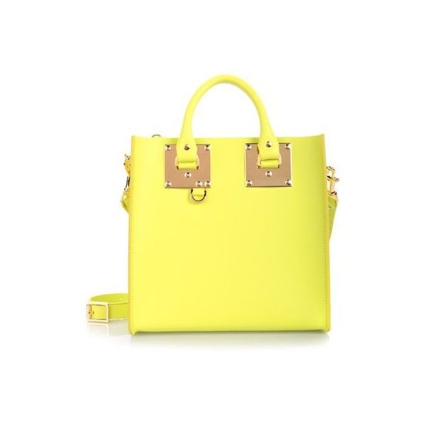 SOPHIE HULME 'Square' Small Yellow Tote (2.010 RON) ❤ liked on Polyvore featuring bags, handbags, tote bags, yellow, tote handbags, yellow purse, yellow leather tote, handbags totes and genuine leather handbags
