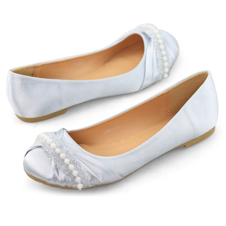 womens pearl wedding bridal ballerina prom comfort silver flat pumps shoes size