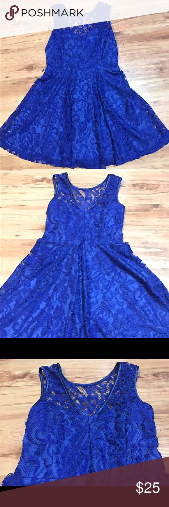 Beautiful lace dress Beautiful royal blue lace, see through halter, v back. This dress is truly stunning! Worn once! Sally Miller Dresses Midi
