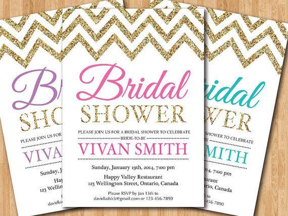 Bridal Shower Invitation. Gold Glitter Chevron Bridal Shower Invite. Pink, Purple, Tiffany Blue, Coral, Any color. Printable digital DIY.