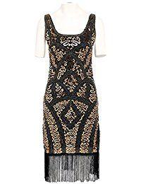 Babeyond Frauen Vintage Gatsby Kleid Zwanziger Jahre Flapper Kleid Art Deco Kleider UK Schwarz und Gold