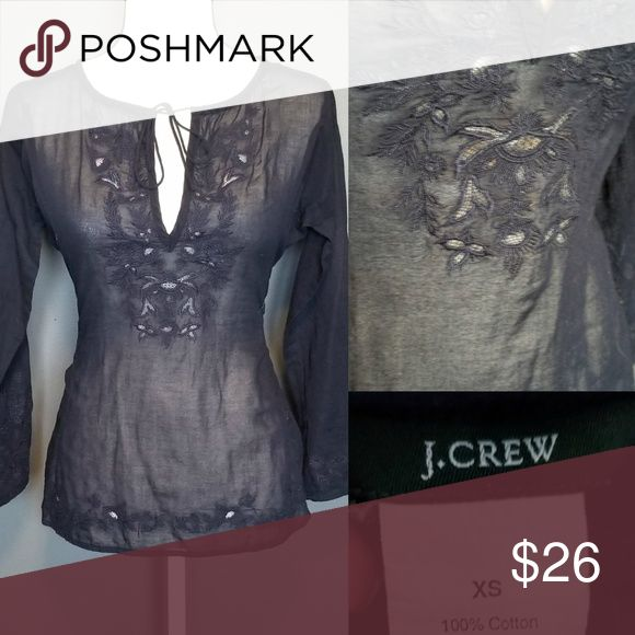 J,. CREW Navy blue Blouse Navy blue blouse with floral cut outs semi sheer wear with a tank top under or a bikini top and tie front J. Crew Tops Blouses