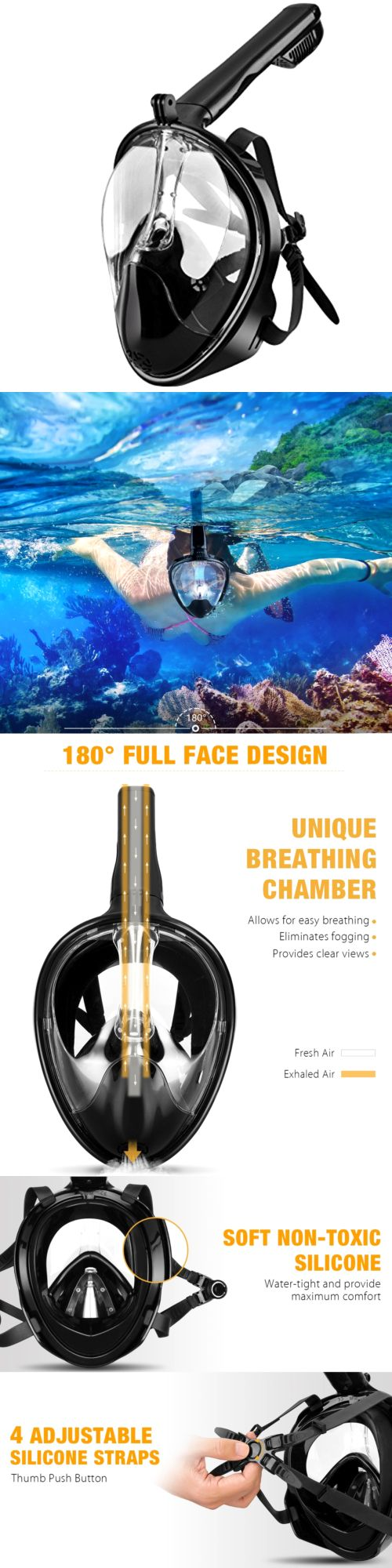 Masks 71161: Tribord Easybreath Snorkeling Mask Diving Full Face180 For Men Women Youth Teen -> BUY IT NOW ONLY: $46.9 on eBay!