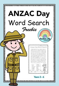 Free Download of our ANZAC Day Word Search.  17 words to find relating to ANZAC Day  Suitable for Years 3 - 6. ~ Rainbow Sky Creations ~