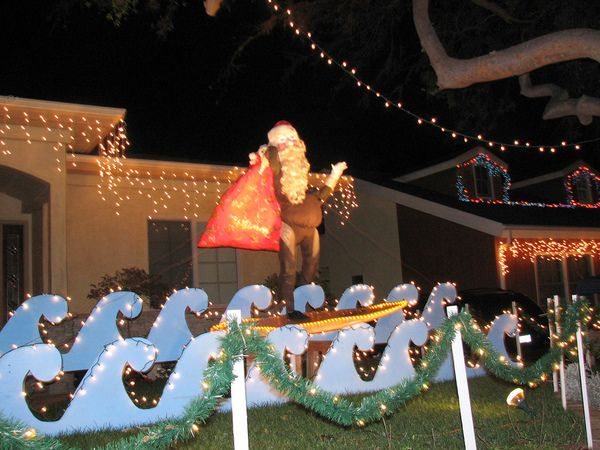 Surfing Santa Beach Christmas Outdoor Decorations Aye