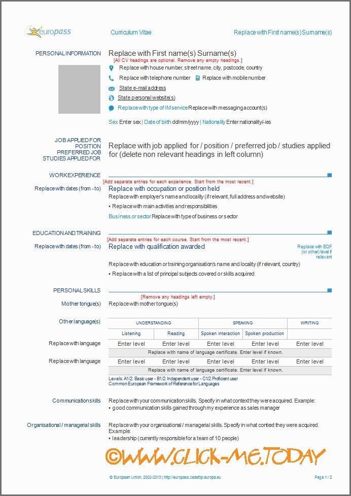 European Cv Template Lebenslauf Professionelle Bewerbung