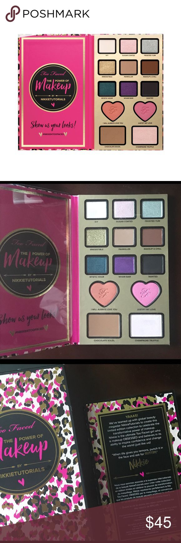 Too Faced X Nikkie Tutorials The Power of Makeup BRAND NEW! BNWT! Too Faced X Nikkie Tutorials The Power of Makeup Palette. It features 9 eye shadows , 2 blushes , bronzer, and a highlighter . Too Faced Makeup Eyeshadow