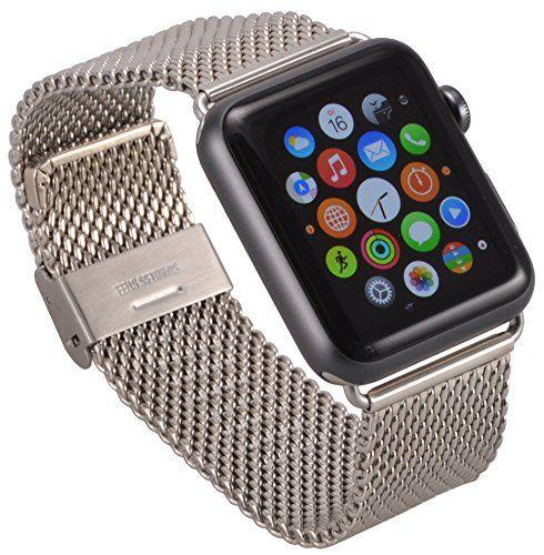 Apple Watch Edelstahl Armband Milanaise Uhrenband mit hochwertigem Adapter Uhren Connector Uhrenadapter Metallschließe in schwarz Stainless Steel Erstatzband Klapp Faltschließe 38 mm Basic / Sport / Edition - in Silber von OKCS - http://besteckkaufen.com/okcs/apple-watch-edelstahl-armband-milanaise-mit-in-38