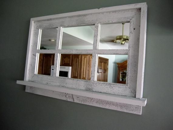 This Barnwood Window Mirror With Shelf Is Just One Of The Custom Handmade Pieces You Ll Find In Our Mirrors S Mirror With Shelf Window Mirror Barn Wood Frames