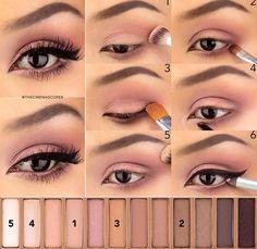 beauty, black, diy, eyebrow, eyeliner, makeup, mascara, pink, pretty, smokey eye, tutorial, urban decay, naked 3