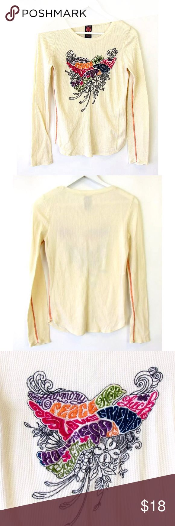 """Lucky Brand Thermal Waffle Embroidered Top Sz M Brand: Lucky Brand Style: Long Sleeve Waffle/Thermal Shirt with Emroidered Dove/Words """"Happiness, Harmony, Peace, Good Times, Friends, Luck, Hope"""" Size: Medium  Color: Cream/White Material: 100% Cotton Measurements taken flat: -Across under arm: 17"""" -Shoulder to hem: 25"""" Garment Care: Machine wash, tumble dry  Condition: No flaws. See pictures for details. Lucky Brand Tops Tees - Long Sleeve"""