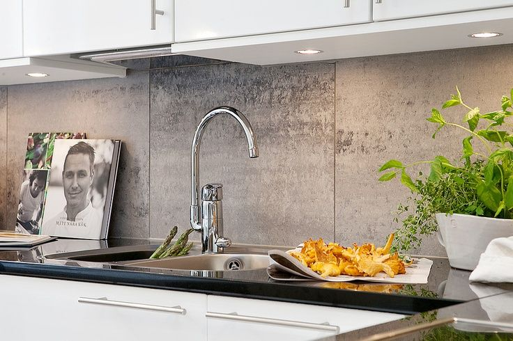 Kitchen Splashback Tiles - Large 600 x 600 Stone Feature Tile - with wooden bench tops and white cupboard