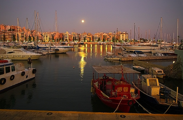 Moonrise (HDR) Over Zea Port, Pireaus, Greece