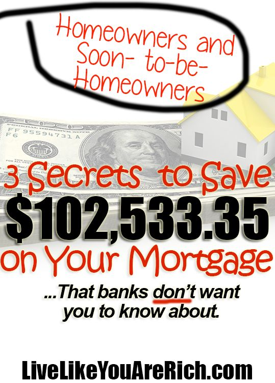 Read this before making a decision on your loan.  These are 3 Secrets to Save $102,533.35 on Your Mortgage...That Banks Don't Want You to Know About