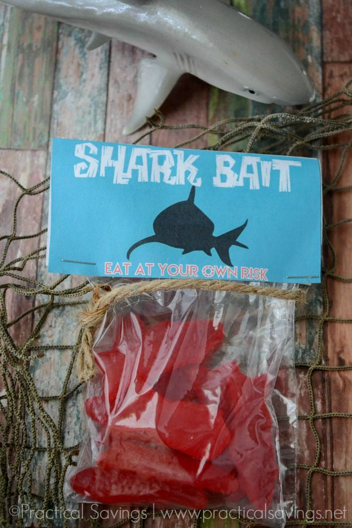 Start your Shark Week party off right with these fun little Shark Bait treat bags.
