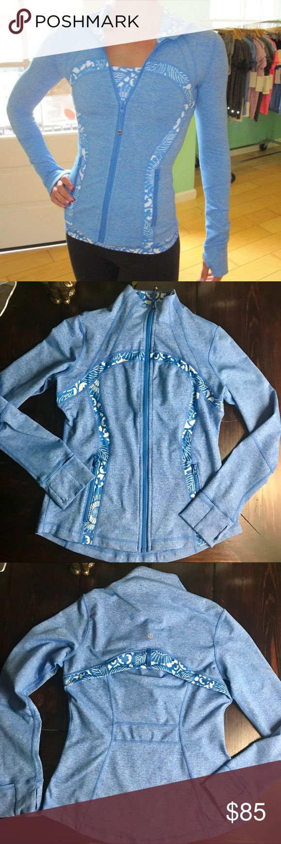 Lululemon Define Jacket in Blue Beachy floral Lululemon Define Jacket in Blue Porcelain Beachy floral.  In perfect condition.  It feels and looks brand new.   A great spring jacket!!! Size 10 lululemon athletica Jackets & Coats
