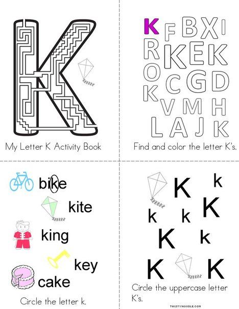 letter k activity book from twistynoodlecom