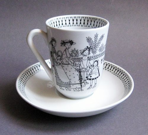"Arabia - Finland, ""Emilia"" cup and saucer designed by Raija Uosikkinen."