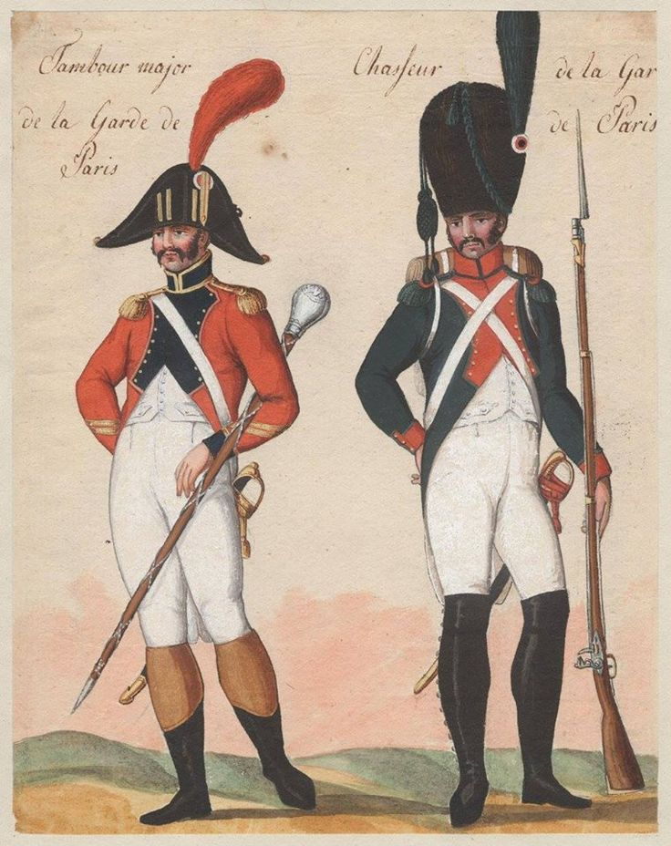 France - Drum Major and Chasseur of Guard of Paris