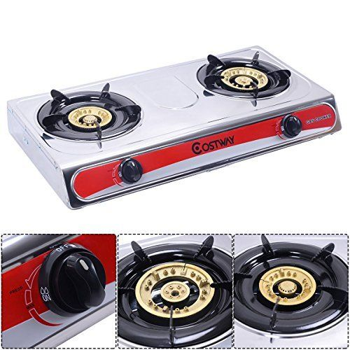 Gravelove Stainless Steel 2 Burners LPG Gas Stove Cooker Hob Cooktop Kitchen * More details can be found by clicking on the image.