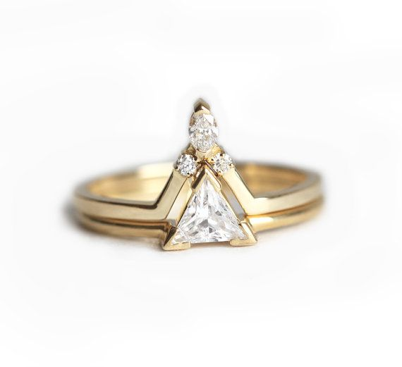 Diamond Wedding Ring Set Diamond Engagement Ring Set by MinimalVS