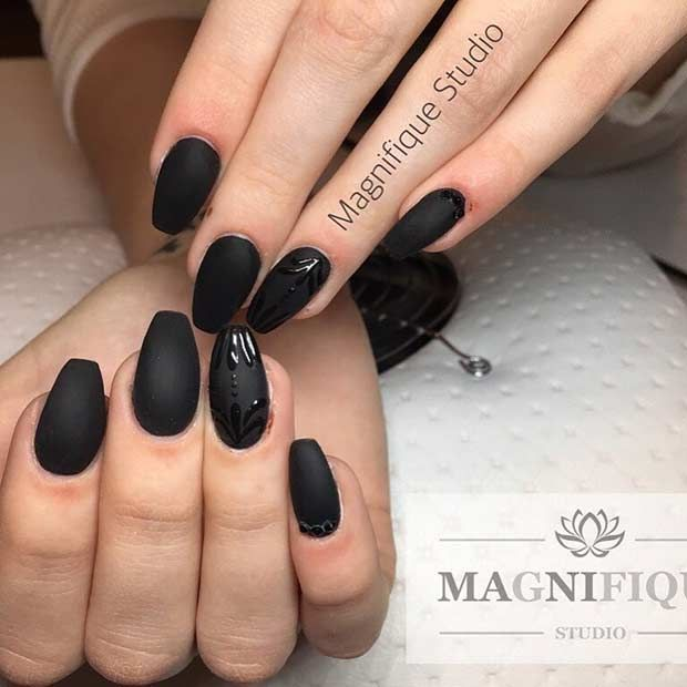 Simple Matte Black Nail Art Design… | Pepe