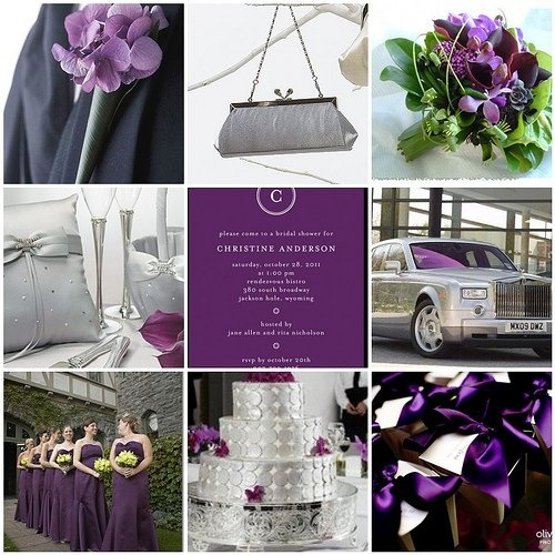 wedding color scheme... Love the grey and purple with some green!!