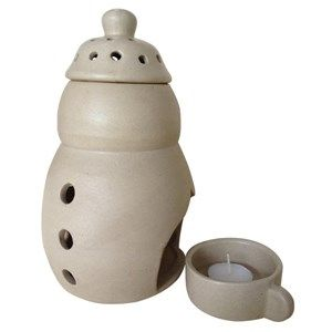 Aroma Oil Lamp (Large) is a hand crafted ceramic 3 piece articlehaving a water holding capacity of over 300 ml. It has a separate candle stand and a perforated lid both made of ceramic. It can diffuse fragrance up to 4 hours without refilling subject to replenishment of candle.