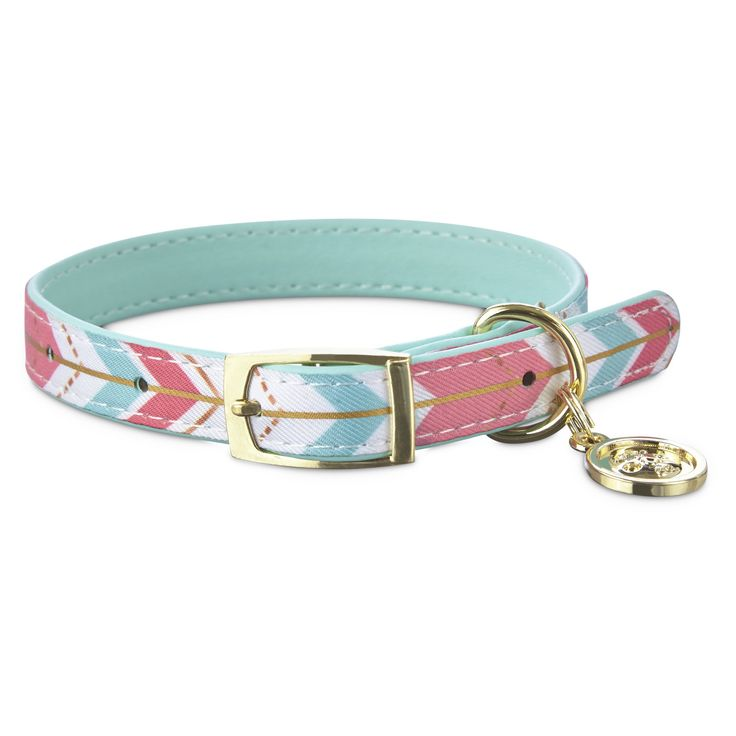 Bond+&+Co.+Multi+Triangle+Collar+for+Small+Dogs+-+Jazz+up+your+canine's+style+with+the+trendy+Bond+&+Co.+Gold+Chevron+Small+Dog+Collar.+The+teal+and+coral+repeating+chevron+pattern+on+this+collar+is+accented+by+gilded+metal+hardware+to+provide+your+pup+with+a+polished+look. - https://www.petco.com/shop/en/petcostore/product/bond-and-co-multi-triangle-collar-for-small-dogs