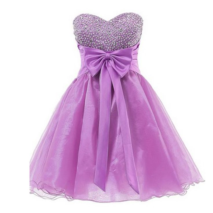 Elaborate Purple Homecoming Dresses 2016 Organza Ruffles Custom Made Sweetheart Beaded Sequins Short Party Dress with Bow