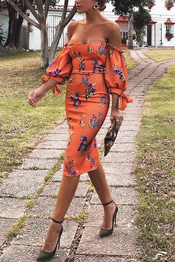 Sexy Orange Red Off Shoulder Floral Print Bodycon Dress #ebuytide #blouse #dress... 2