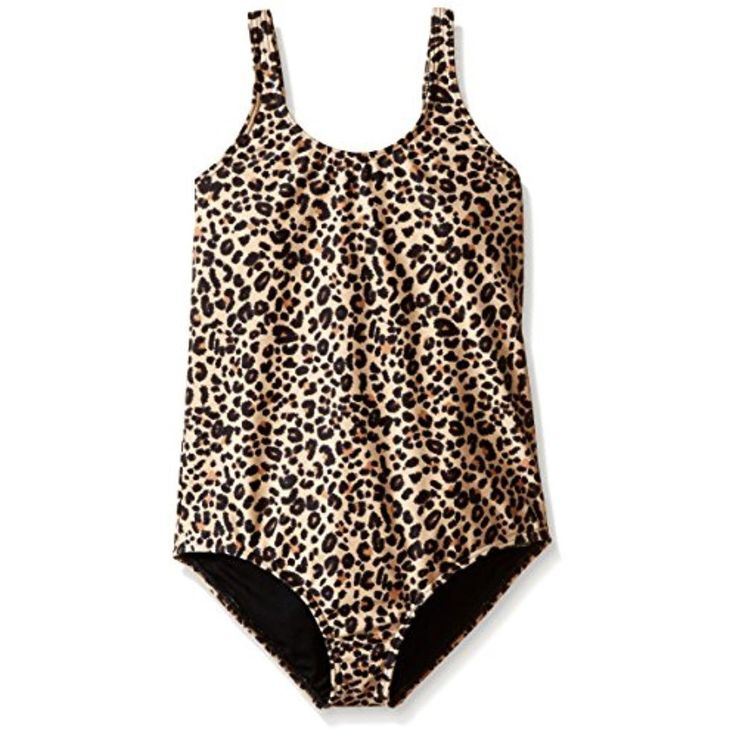 Billabong Girls Tan Animal Print Lattice Back One-Piece Swimsuit 14